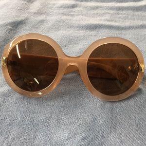 Salvatore Ferragamo Mauve Circle Frame Sunglasses